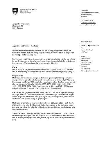 Retablering af markvej. Naturbeskyttelseslovens §26a