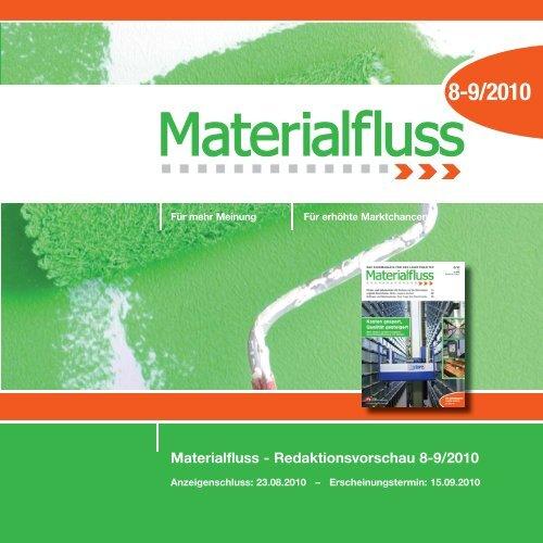 Materialfluss - Redaktionsvorschau 8-9/2010 - materialfluss.de