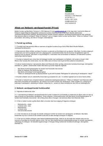 Aftale om Netbank værdipapirhandel (Privat)