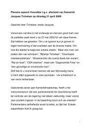 Toespraak voorzitter bij afscheid Jacques Tichelaar - Tweede Kamer