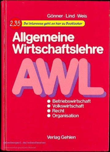 Gönner / Lind / Weis AWL, Allgemeine Wirtschaftslehre