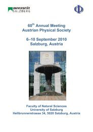 60 Annual Meeting Austrian Physical Society 6–10 September 2010 ...