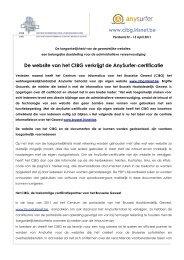 De website van het CIBG verkrijgt de AnySurfer-certificatie