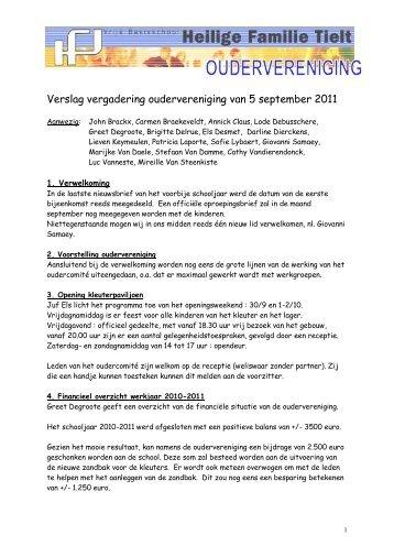 Verslag vergadering oudervereniging van 5 september 2011