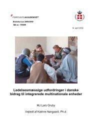 Ledelsesmæssige udfordringer i danske bidrag til integrerede ...