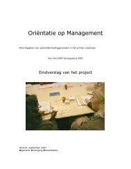 Oriëntatie op Management - sbo Sectorbestuur Onderwijsarbeidsmarkt