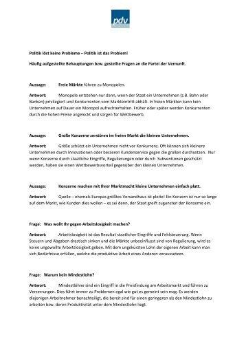 Politik löst keine Probleme - Partei der Vernunft in Nordrhein ...