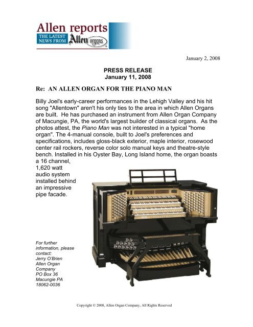 Billy Joel's Allen Organ - Fox Music