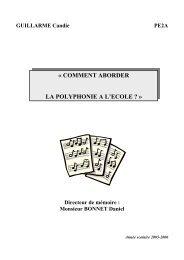 « COMMENT ABORDER LA POLYPHONIE A L'ECOLE ? » - IUFM