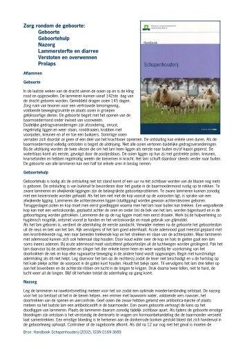Handboek Schapenhouderij: Zorg rondom de geboorte