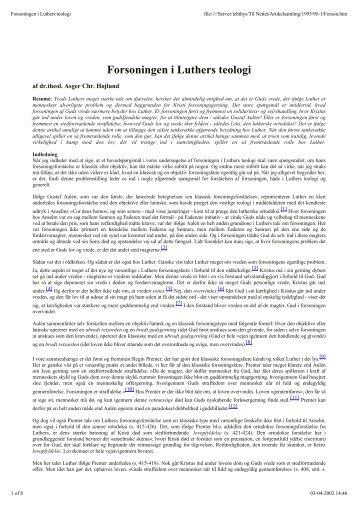 Forsoningen i Luthers teologi - Menighedsfakultetet