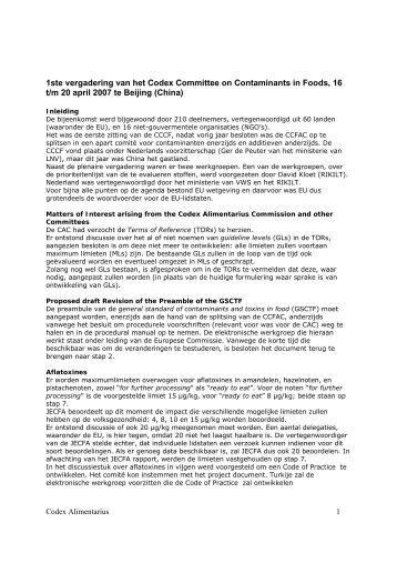 CCCF 2007 - Codex Alimentarius