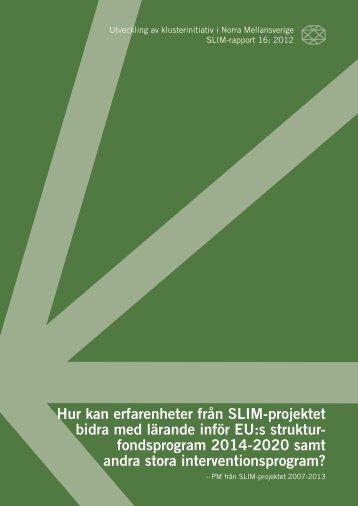 Hur kan erfarenheter från SLIM-projektet bidra ... - Region Värmland