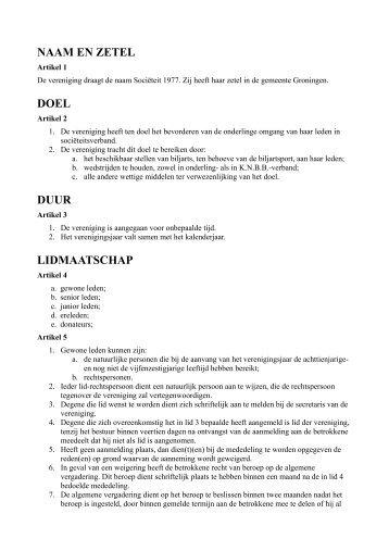 naam en zetel doel duur lidmaatschap - Biljart Sociëteit 1977