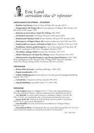 Eric Lund curriculum vitae & referenser