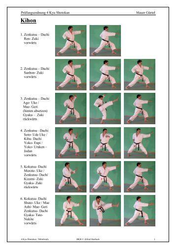 Prüfungsordnung 4 Kyu Shotokan blauer Gürtel 1. Zenkutsu – Dachi ...