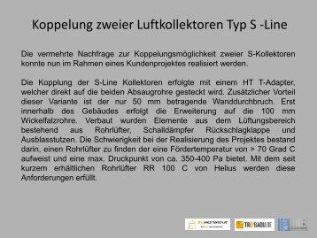 Koppelung zweier Luftkollektoren Typ S -Line - Trubadu.de