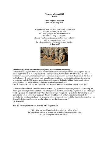 Nieuwsbrief maart 2012 Deel 4 Het eindspel is begonnen Nu komt ...