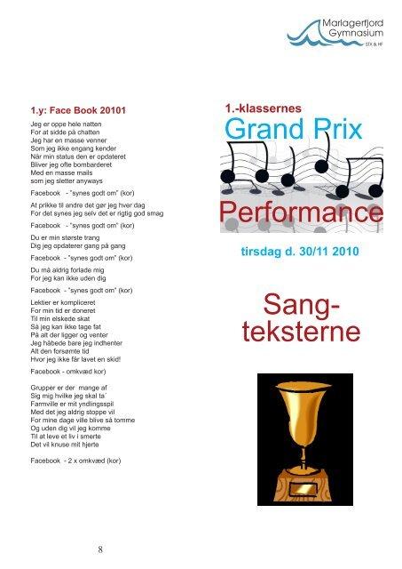Grand Prix Performance Sang- teksterne