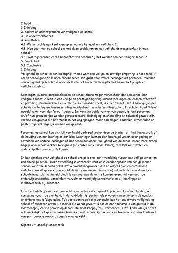Inhoud 1. Inleiding 2. Kaders en achtergronden van veiligheid op ...
