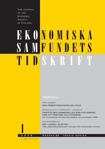Nummer 1/2005 - Ekonomiska Samfundets tidsskrift