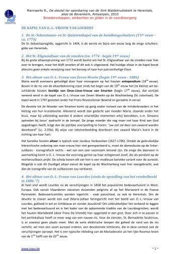 de Noordkoorgang - Antwerpen, Kerken en Toerisme