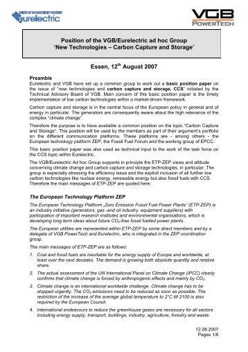Position of the VGB/Eurelectric ad hoc Group ... - VGB PowerTech