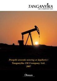 Prospekt avseende notering av depåbevis i Tanganyika Oil ... - Öhman