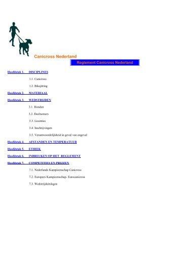 wedstrijdreglement - Canicross Zundert