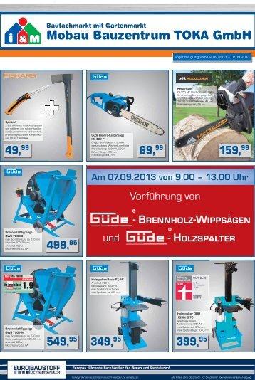 Mobau Bauzentrum TOKA GmbH 499, 549, 349, 69, 399, 159,