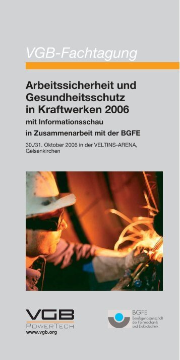VGB-Fachtagung Arbeitssicherheit und ... - VGB PowerTech
