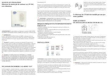 MANUEL D'UTILISATION Détecteur de monoxyde de ... - Chacon