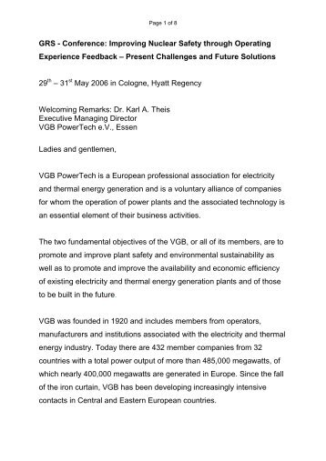 GRS - Conference: Improving Nuclear Safety ... - VGB PowerTech