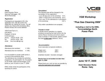 VGB Workshop ''Flue Gas Cleaning 2009'' June ... - VGB PowerTech