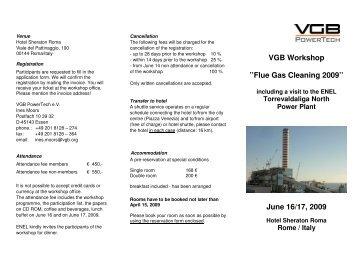 VGB Workshop ''Flue Gas Cleaning 2009'' June ... - VGB PowerTech