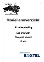 Modellenoverzicht Led-armaturen Proefopstelling - Straatbeeld