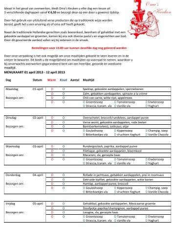 MENUKAART 01 april 2013 - 12 april 2013 - Maaltijdservice Enschede