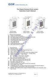 Gianni Digital Keyless Entry System User's Manual - Intelligent ...