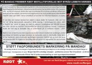 STØTT FAGFORBUNDETS MARKERING PÅ MANDAG! - Rødt
