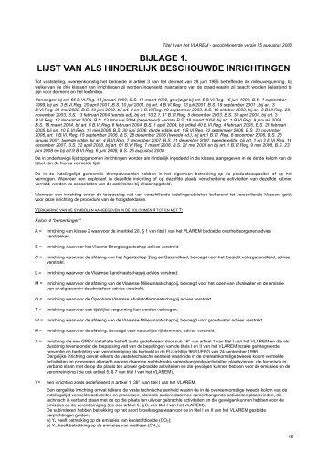 bijlage 1. lijst van als hinderlijk beschouwde inrichtingen