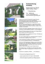 Hausprospekt zum Download (800kB) - Ferienwohnung Kolodzey