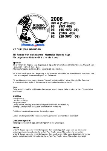 NT CUP 2008 INBJUDAN Till Rimbo och deltagande i ... - Rimbo IF