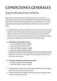 condiciones generales de la tarjeta de fidelización - Ferreteria Bonaire