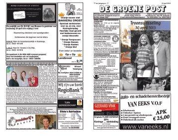 De Groene Post, editie 24 april - Boekhandel en Drukkerij Spijkerman