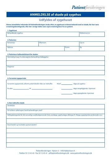 Patientforsikring anmeldelses skema - DrStorm