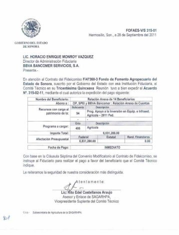 Instrucciones de Pago 315 - Gobierno del Estado de Sonora