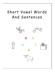 Stage 2 Three-letter words with short vowel sounds