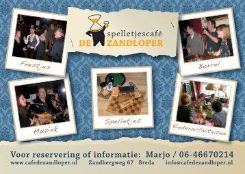 Voor reservering of informatie: Marjo / 06-46670214 - spelletjes cafe ...