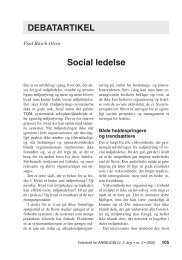 Social ledelse - Nyt om Arbejdsliv