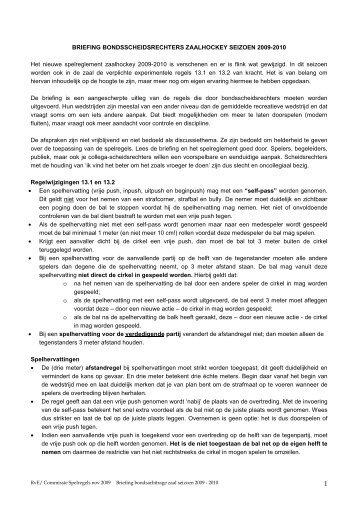 Briefing zaalhockey voor bondsscheidsrechters - Kraaien
